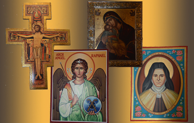 Icons located in the Blessed Sacrament chapel remind visitors of the company of heaven surrounding them.