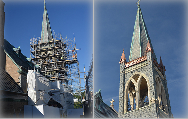 On the left, the steeple of the church undergoing renovation in 2015-2016; on the right, the completed project